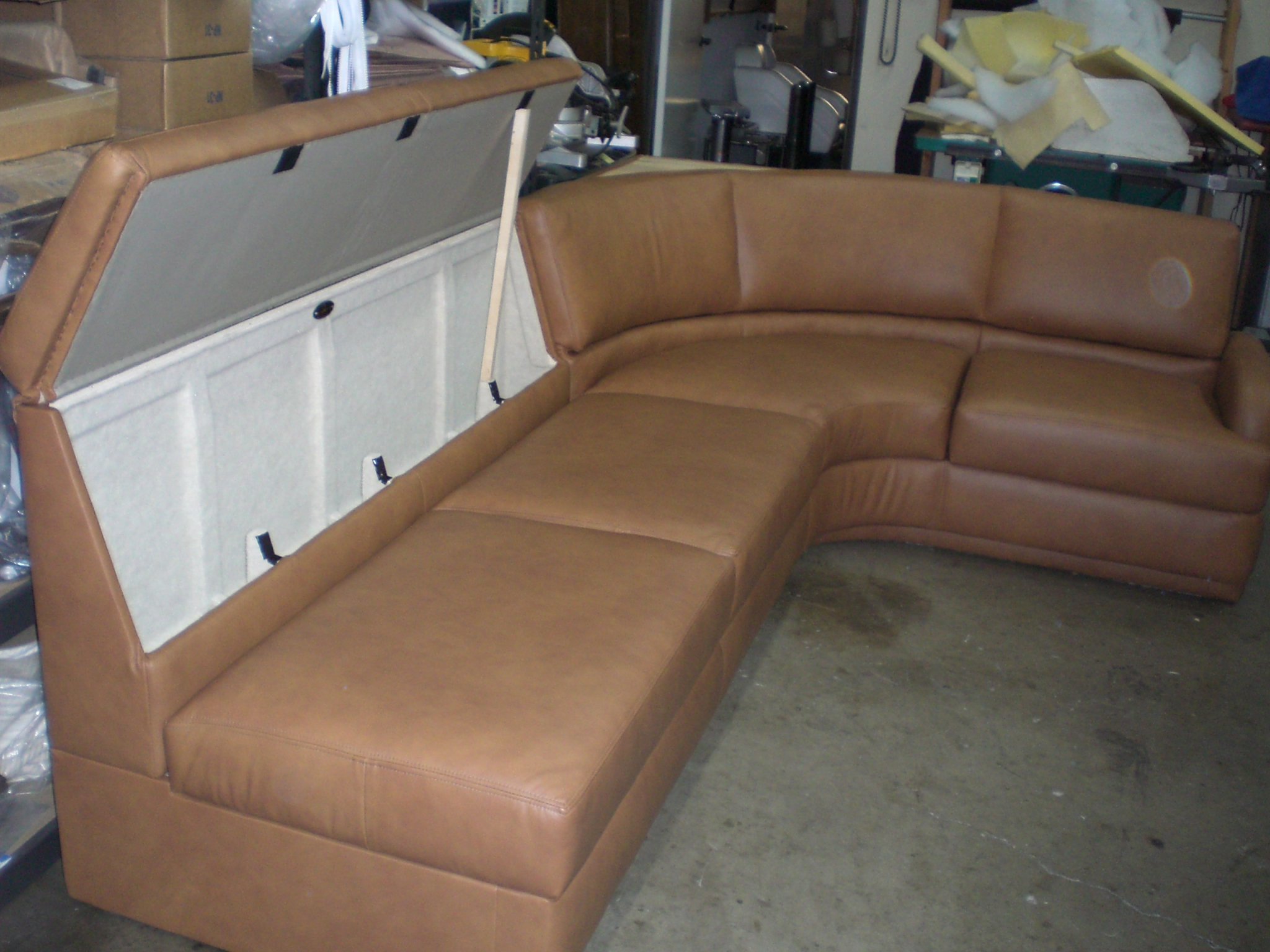 This Sofa Is Made To Be Unique Even For A Boat. The Entire Sofa Frame Has A  Storage Compartment, Under The Seat Cushions And Inside The Back Frame.