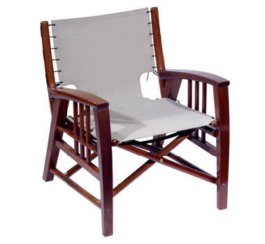 (106) Folding Director Chair. Sunbrella Fabric Laced With Rope. Solid  Rosewood. Marine Varnish With UV Rays Protection.