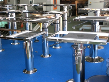 Yacht Stainless Steel table and Helm Seat Bases
